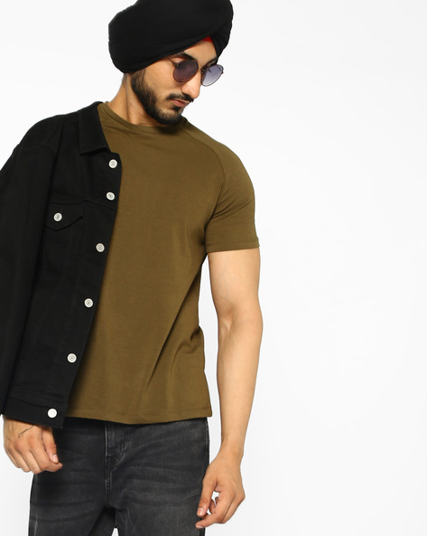 Special Cotton Stretch T-shirt With Raglan Sleeves By AJIO ( Olive )