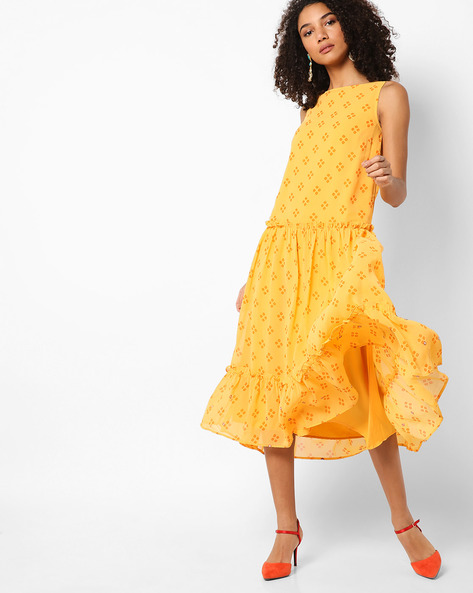 Printed Tiered Midi Dress By AJIO ( Yellow )