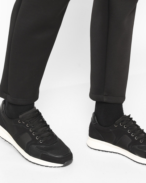 Low-Top Lace-Up Sneakers By AJIO ( Black )