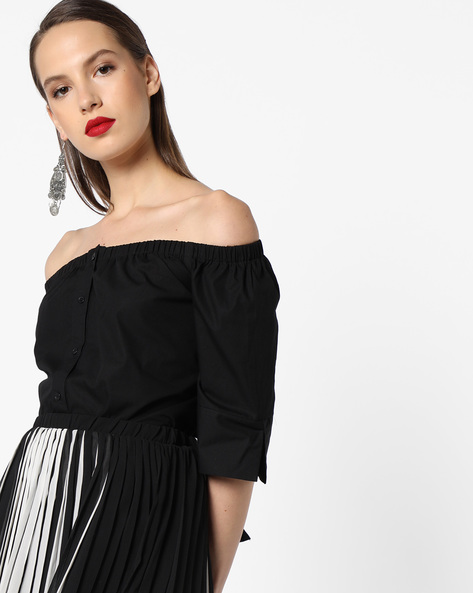 Off-Shoulder Top With Tie-Up By INFLUENCE ( Black )
