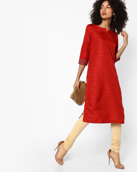 Straight Kurta With Contrast Sleeve Hems By Melange By Lifestyle ( Red )