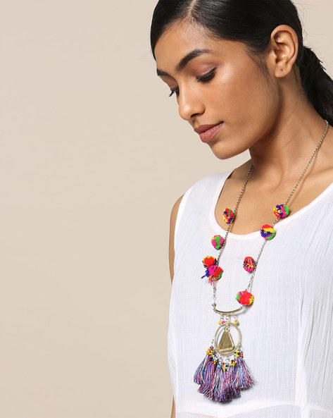 Necklace With Pom-Pom And Tassle Embellishments By Indie Picks ( Multicolour ) - 460167625001