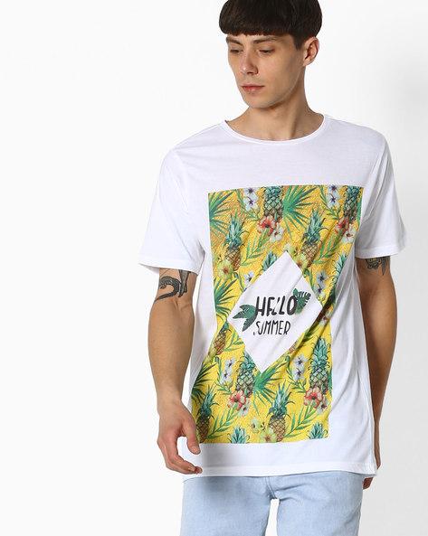 Graphic Print Slim T-shirt By ADAMO LONDON ( White )