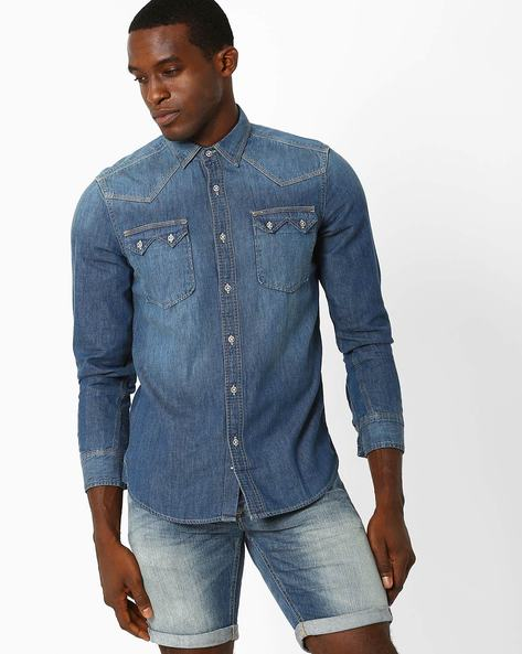 Slim Fit Shirt With Flap Pockets By Lee ( Indigo )