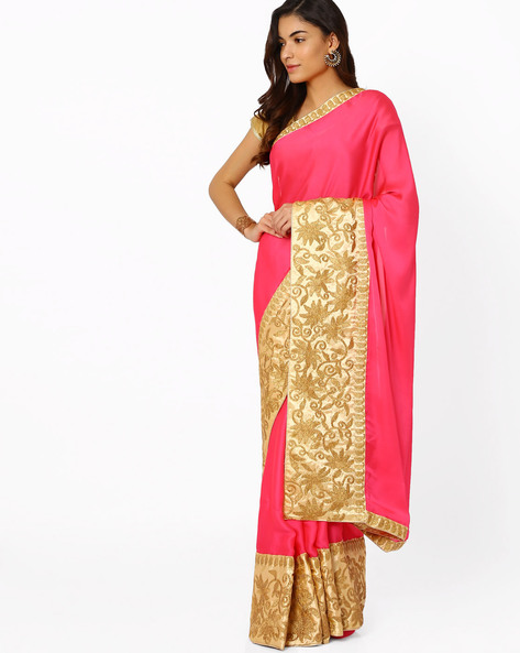 Embroidered Satin Saree By Viva N Diva ( Pink )