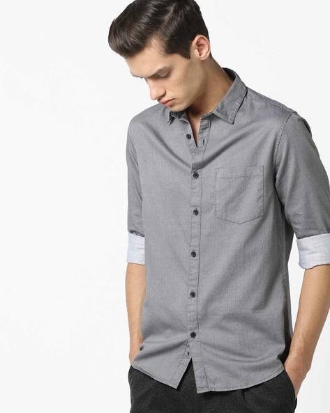 All-Over Print Shirt With Patch Pocket By AJIO ( Navy )