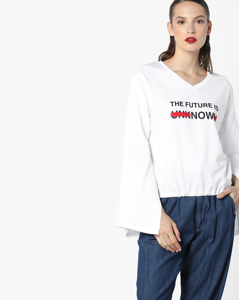 Printed T-shirt With Slit Sleeves By AJIO ( White )