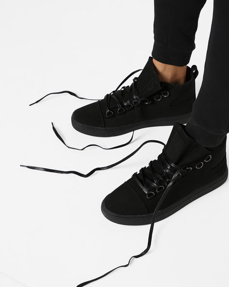 Panelled Mid-Top Lace-Up Sneakers By AJIO ( Black )