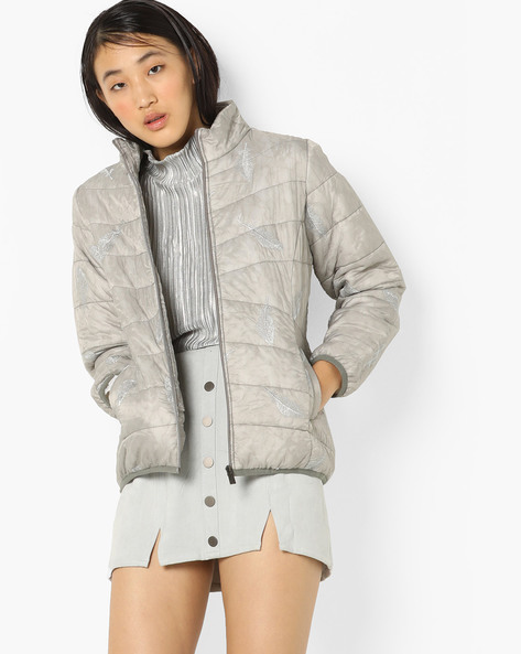 Quilted Jacket With Zipper By Fort Collins ( Lightgrey )