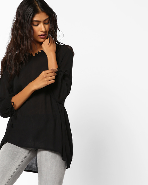 High-Low Top With Tie-Ups By BOSSINI ( Black )
