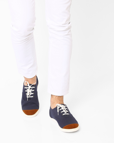 Colourblock N9-Treated Canvas Sneakers By AJIO ( Navy )