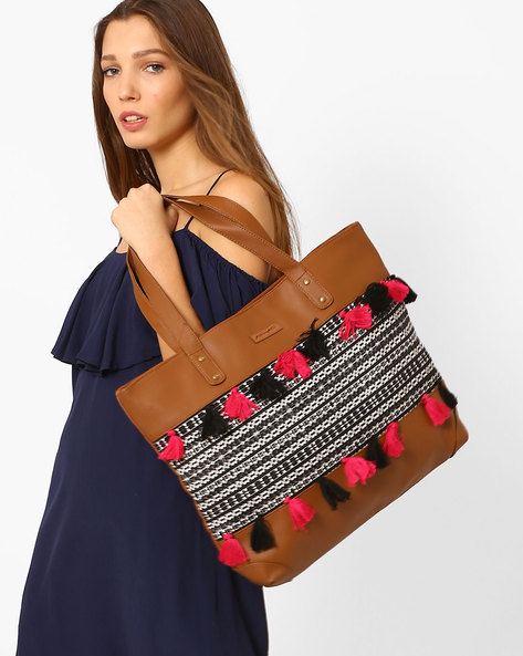 Canvas Tote Bag With Tassels By Kanvas Katha ( Brown )