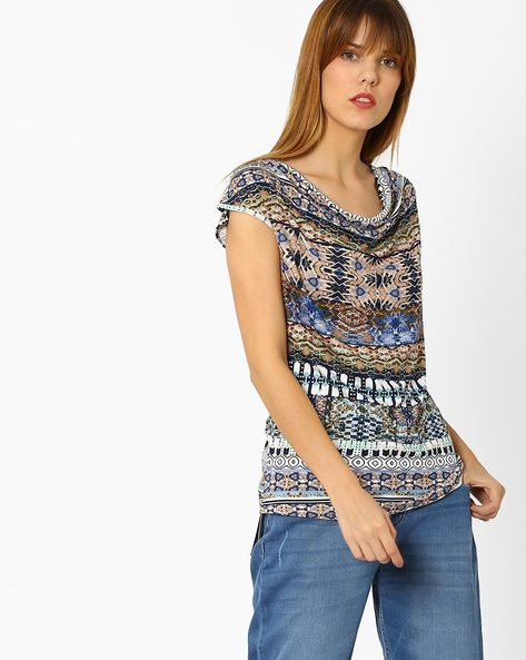 Printed Cowl-Neck Top By And ( Multi )