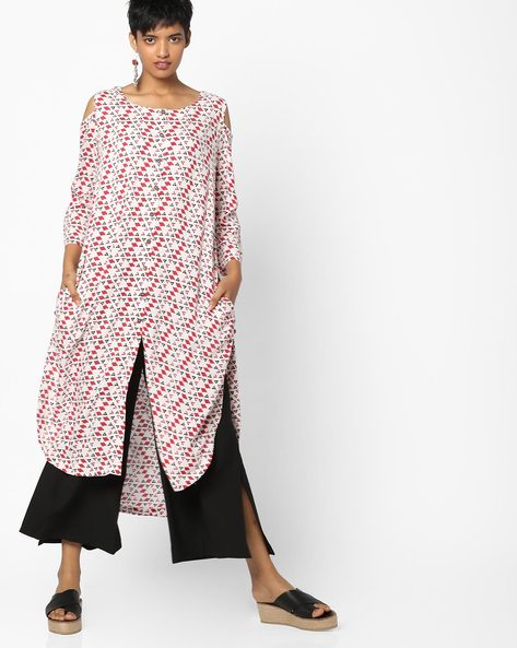 Straight Kurta With Cold-Shoulder Sleeves By PE IW Casual ( Maroon )