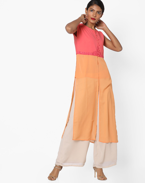 Panelled Kurta With Palazzo Pants By AJIO ( Coral )