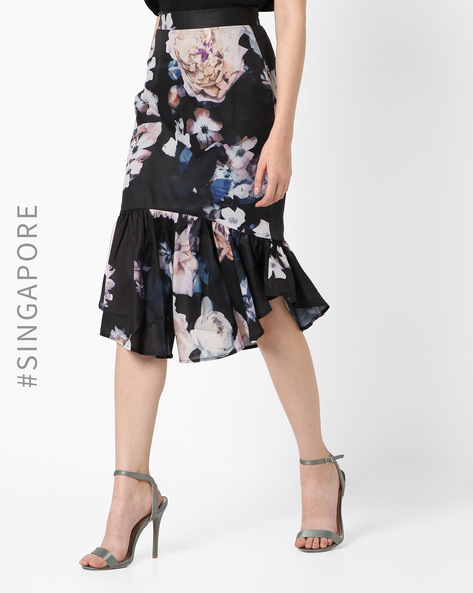 Floral Print Skirt With Flounce Hem By MDS ( Black )