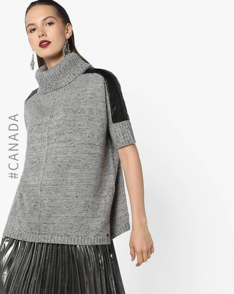 Turtle-Neck Knitted Sweater By Point Zero ( Grey )