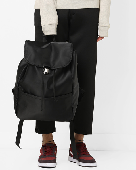 Laptop Bag With Flap Closure By AJIO ( Black )