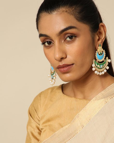 Meenakari Stone Earrings With Pearl Drops By Spargz ( Multi ) - 460146298001