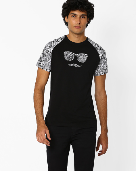 Crew-Neck T-shirt With Printed Raglan Sleeves By Garcon ( Black )