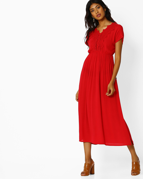 Maxi Dress With Lace By Juniper ( Red )