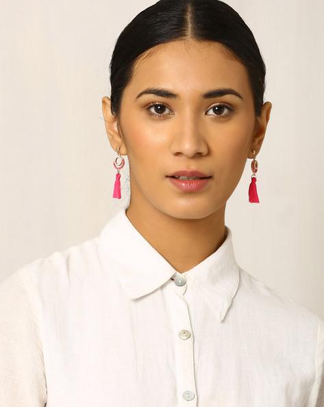 Beaded Drop-Earrings With Tassels By Indie Picks ( Red )