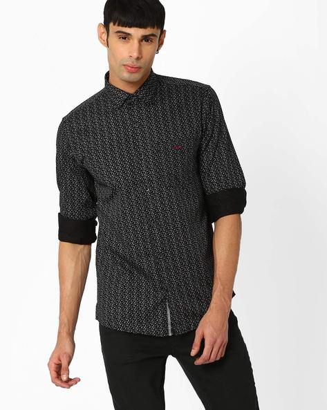Printed Slim Fit Shirt By CRIMSOUNE CLUB ( Black )