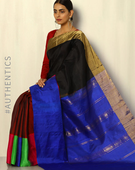 Handloom Arani Half-and-Half Pure Silk Saree By Pretty Woman ( Multi )