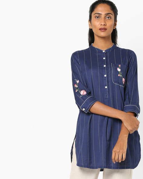 Striped Tunic With Placement Embroidery By AJIO ( Navy )
