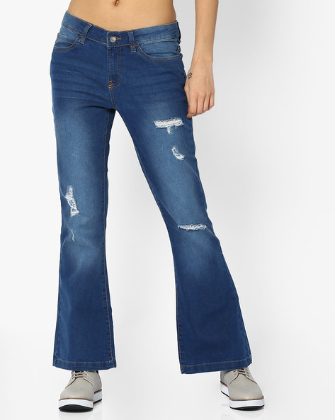 Distressed Flared Jeans By AJIO ( Lightblue )
