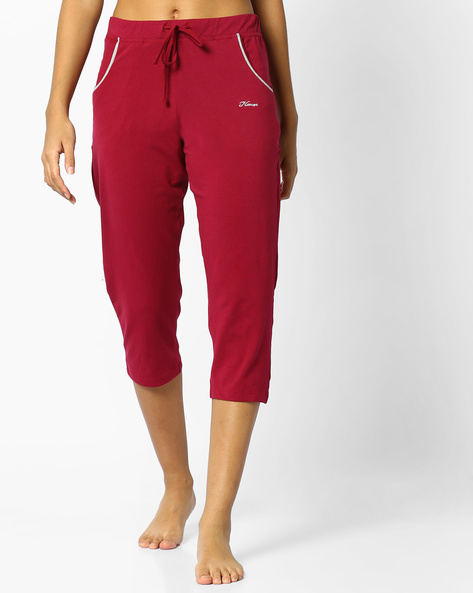 Capris With Drawstring Waist By HANES ( Maroon )