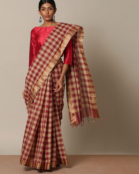 Kanchi Cotton Checked Saree With Zari Border By Indie Picks ( Maroon )