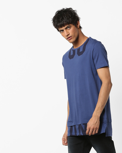 Printed Crew-Neck Longline T-shirt By AJIO ( Blue )