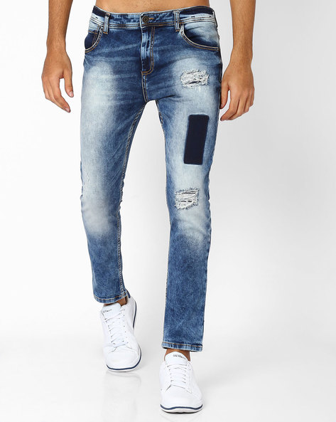 Distressed Skinny Jeans By ADAMO LONDON ( Lightblue )
