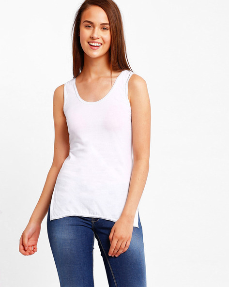 Cotton Camisole With Side Slits By Floret ( White )