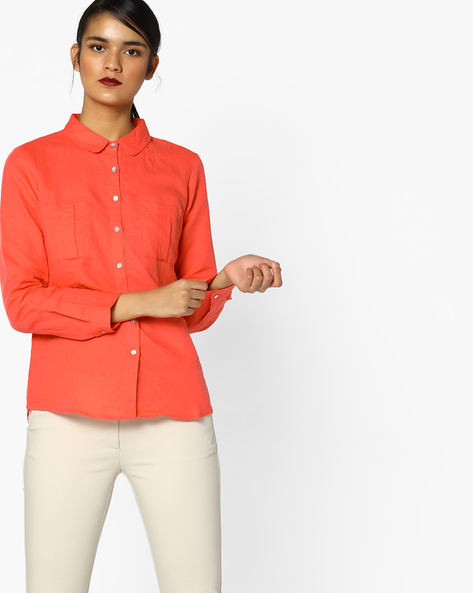 Linen Cotton Shirt With Patch Pockets By PE WW Casual ( Coral )
