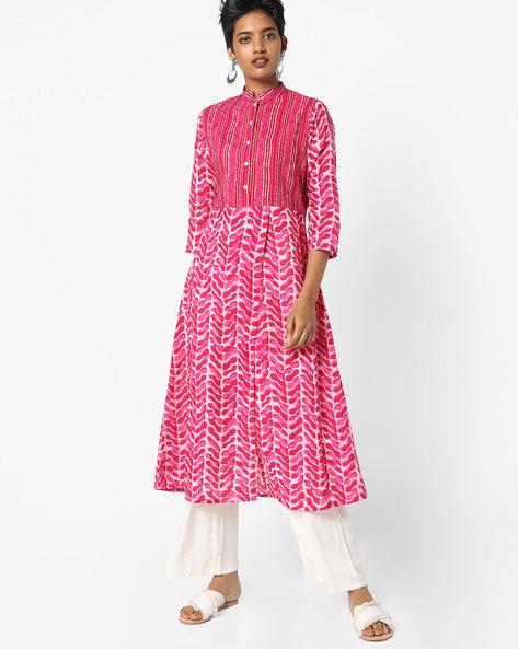 Printed Kurta With Mandarin Collar By Jaipur Kurti ( Pink )
