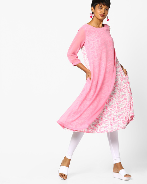 Printed Layered Kurta By Project Eve IW Casual ( Babypink )