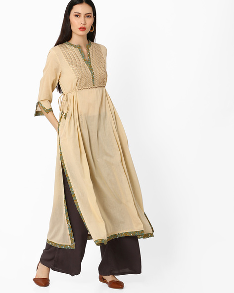 A-line Kurta With Tie-Up By Melange By Lifestyle ( Beige )