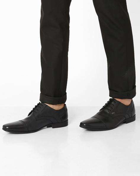Genuine Leather Lace-Ups By Lee Cooper ( Black )