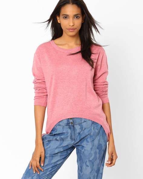 High-Low Sweater With Full Sleeves By AJIO ( Rose )