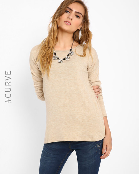 Top With Overlapping Back By AJIO ( Beige )