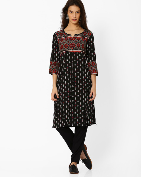 Printed Kurta With Button Detail By AVAASA MIX N' MATCH ( Black )
