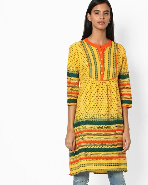 Printed Straight Kurta By Jiyaa ( Yellow )