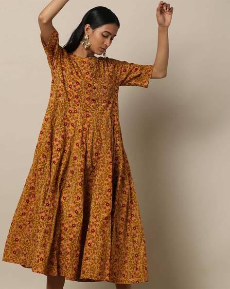 Printed Cotton 16-Panel Midi Dress By Seasons ( Mustard )
