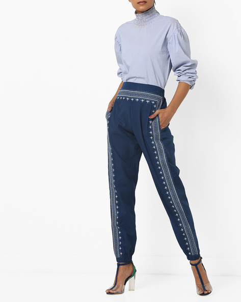 Mid-Rise Embroidered Tack Pants By AJIO ( Navy )
