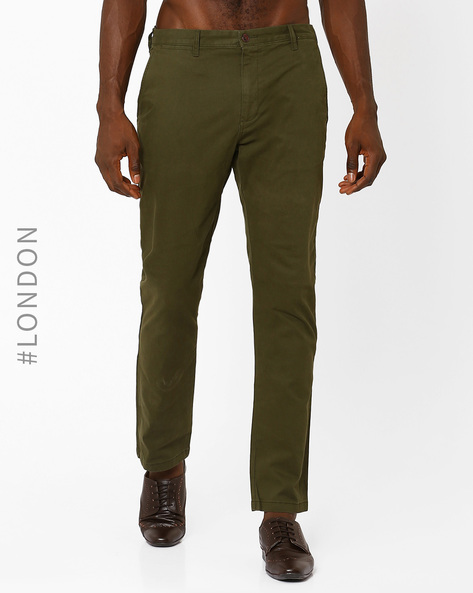 Washed Straight Fit Stretch Chinos By Marks & Spencer ( Khaki )