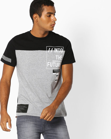 Colourblock Crew-Neck T-shirt By Celio ( Black )
