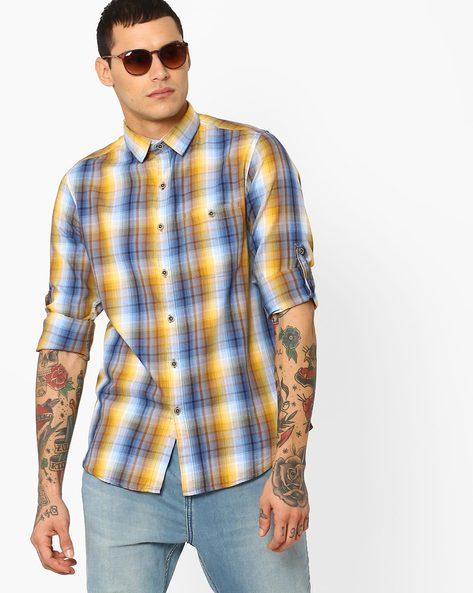Yarn-Dyed Checked Shirt By AJIO ( Mustard )