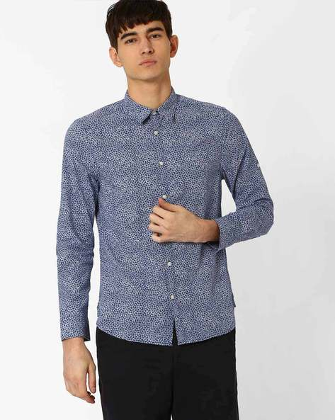 Floral Print Slim Fit Shirt By Jack & Jones ( Navy )